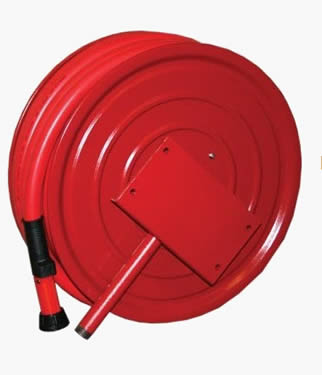 Fire hose reel with red color hose and plastic nozzle