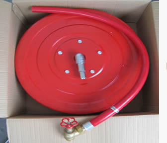 The fire hose reel is packed in a box
