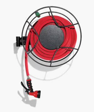 Wall mount hose reel with red hose and SS support ...  sc 1 st  Garden Hose Reel : wall mount hose reel - www.happyfamilyinstitute.com