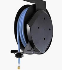 water hose reel used for auto repair shop with blue braid hose